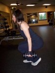 left toe is even with right heel for the lunge.  note perfect spinal alignment! all weight is on right leg.