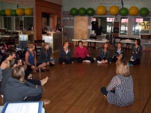 discussing a group coaching exercise