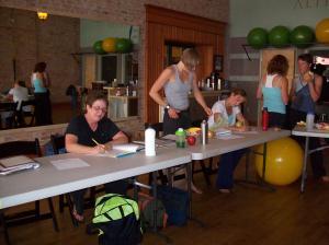 Studying on break: Vicki, Erin, Kelly, Dawn, Tracey