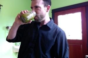 Dave sucks down some green stuff.